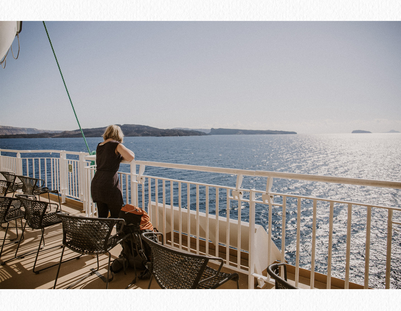 Santorini ferry side deck view
