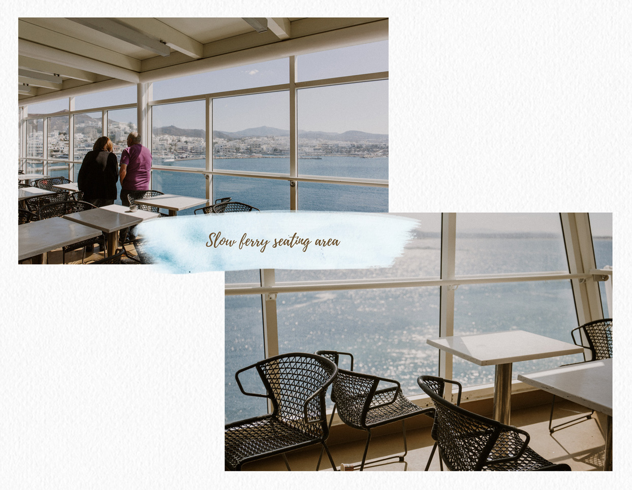 Santorini slow ferry seating area